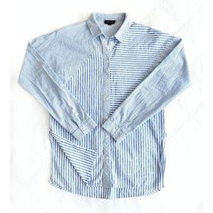 Topshop harper mixed stripe split-side shirt